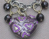 Necklace-Beaded Necklace-Heart Necklace-Heart Jewelry-Purple Necklace-Purple Jewerly-Heart Charm-OOAK