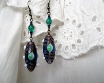Victorian Goth Earrings 'Northern Lights' Purple and Emerald Green, Lampwork Glass, Long Earrings, Royal Gift for Her
