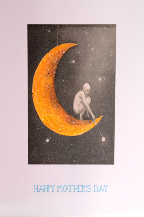Mothers Day Card with Yellow Moon
