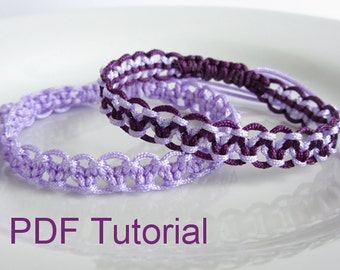 PDF Tutorial Alternating Square Knot Macrame Bracelet Pattern, Instant Download Macrame Bracelet Tutorial, DIY Friendship Slider Bracelet