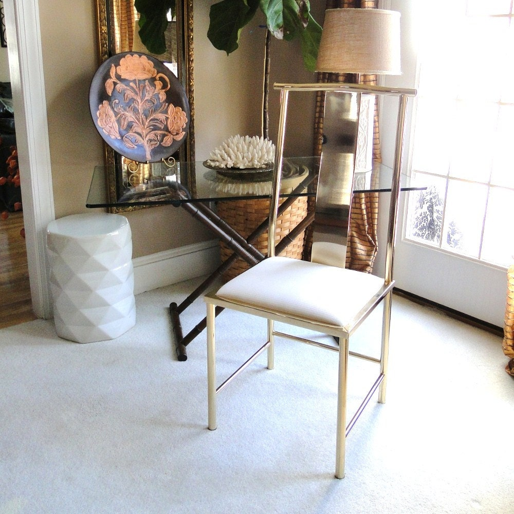 Vintage Chair Gleaming Golden Brass Hollywood by BelatedDesigns