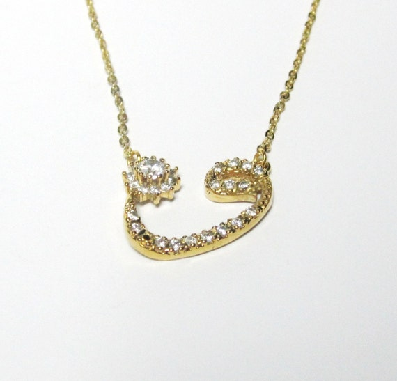 Items similar to waw arabic letter necklace gold plated for Arabic letter necklace