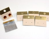 12 pcs Earring Cards - Gold and ecru - plastic base with velveteen strip - 30x30mm