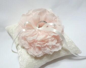 Blush ring pillow, wedding ring pillow, ivory lace ring pillow, wedding ring cushion, blush wedding ring pillow