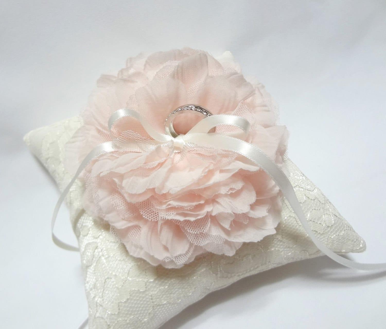 Blush ring pillow wedding ring pillow ivory lace ring