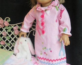 18 inch doll nightgown, fleece slippers, headband with satin floral ribbon, bright pink buttons, vintage rickrack, sock monkey print flannel