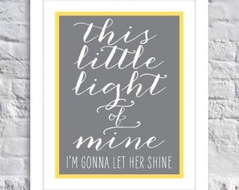 This Little Light of Mine (GIRL) - Child's Room Decor - Wall Art