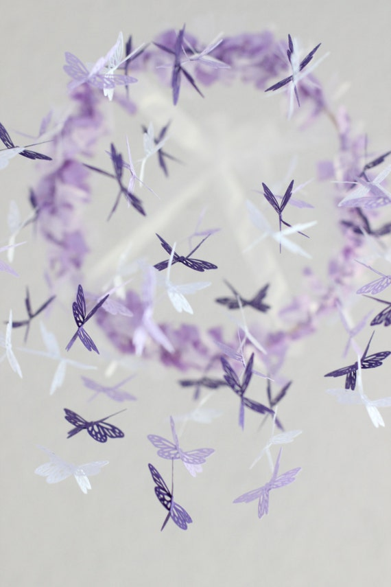 Butterfly Nursery Mobile - Purple, lavender, and white nursery mobile for baby girl room nursery decor