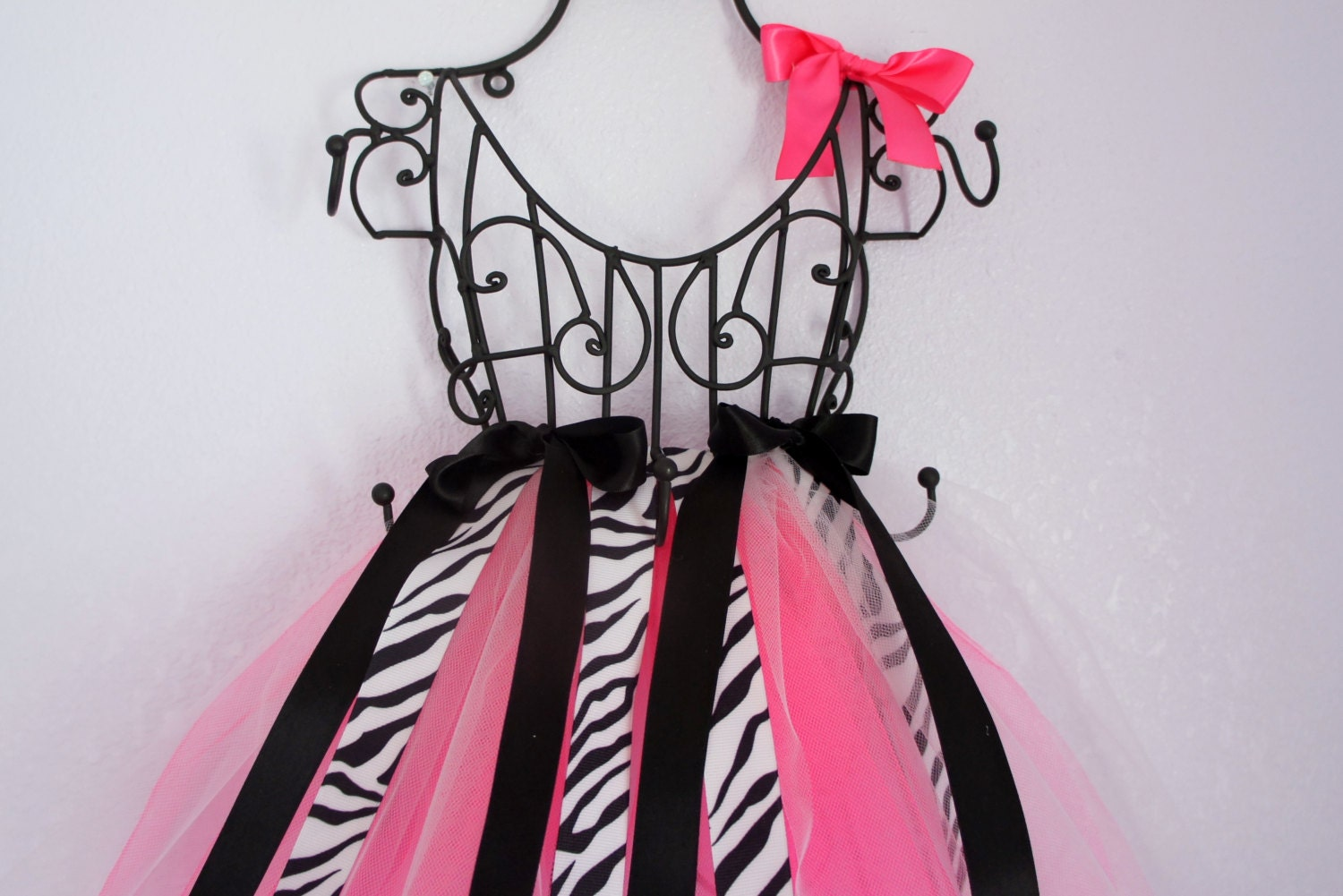 Pink and black zebra print hair bow with hot pink zebra boutique hair