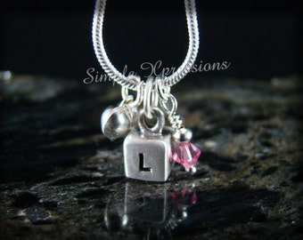 Sterling Silver Cube Pendant with Puff Heart and Birthstone - Brushed Finish