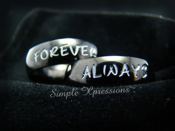 2 Rings - Matching Couples Rings - Polished Black Stainless Steel