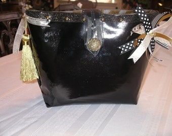 """Black and gold """"patent leather""""vanity bag"""