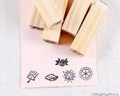 Mini umbrella, rose, cloud,sun, rubber stamp 5set
