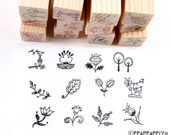 12 pcs Flower Pattern Rubber Stamp