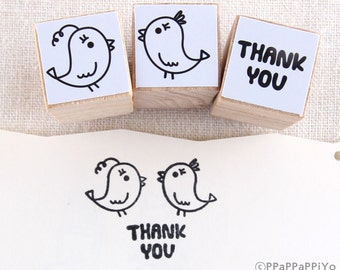 Bird Couple and Thank you Rubber Stamp set