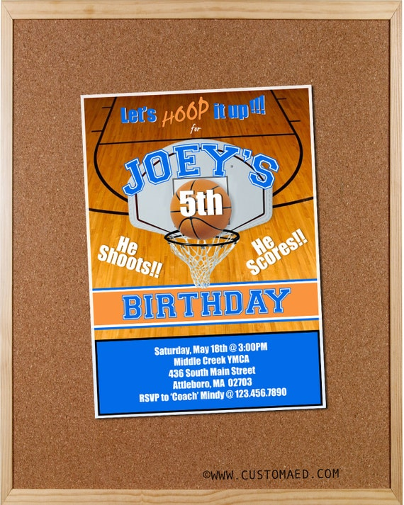 Basketball Birthday Invitations Boy Party Invites Personalized Printable For Sports CardsDigital File
