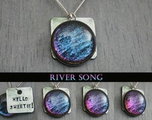 """River Song -Doctor Who Inspired """"Hello Sweetie"""" Hand Stamped Color Shifting Necklace"""