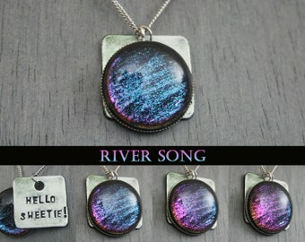 "River Song -Doctor Who Inspired ""Hello Sweetie"" Hand Stamped Color Shifting Necklace - Stainless Steel and Aluminum"
