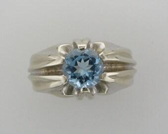 1950's 14 Karat White Gold Aquamarine Ring