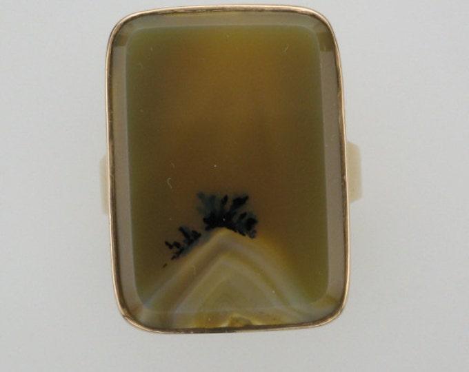 Scenic Agate Ring; Banded Agate Ring; Banded Agate; Scenic Agate; Vintage Agate Ring; Vintage Scenic Agate Ring; Square Agate; Agate Ring