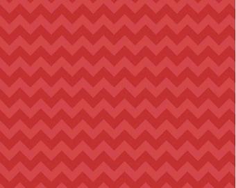 Small Chevron Tone on Tone Red by Riley Blake Designs 1 yard cut