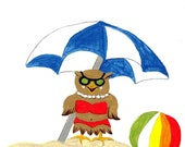 Giclee Art Print of Hootie Owl at the Beach from an original acrylic painting