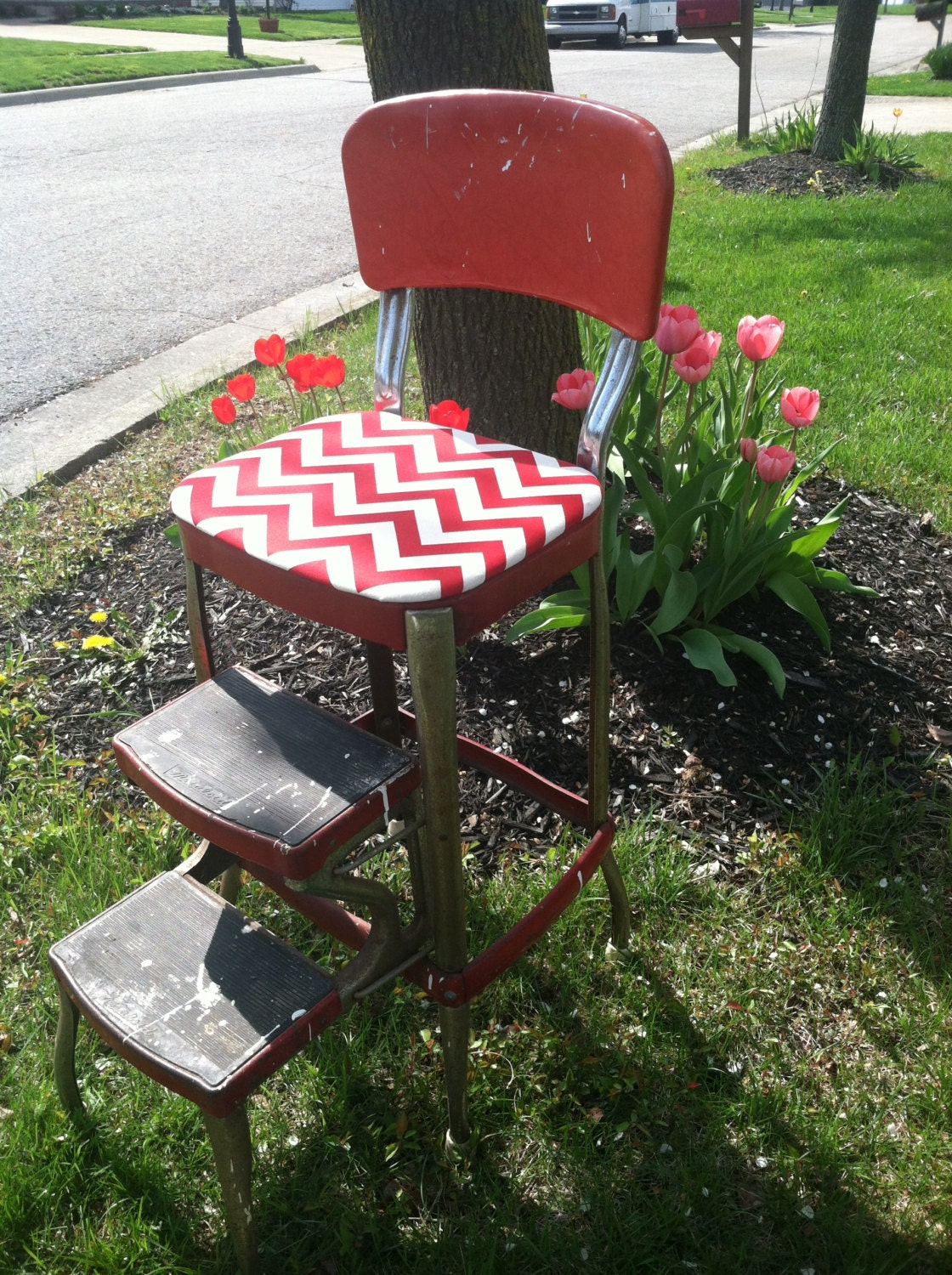 Vintage Upcycled Cosco Red Metal Step Stool With Chevron Seat