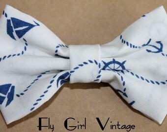 Nautical Fabric Hair Bow Clip Navy Blue and White Anchor Print Hair Bows Rockabilly Pin Up Hair Clip Bow tie Baby Infant Bows Women Teen