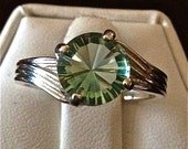 """Green Fluorite """"WIND"""" Sterling Silver Ring"""