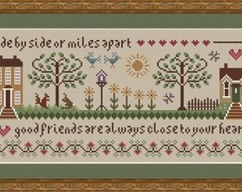 INSTANT DOWNLOAD Friendship Cross Stitch Sampler PDF chart
