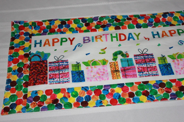 very hungry caterpillar happy birthday table runner