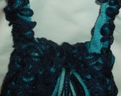 Blue frilly bag, fun,drawstring,special occasion, FREE SHIPPING
