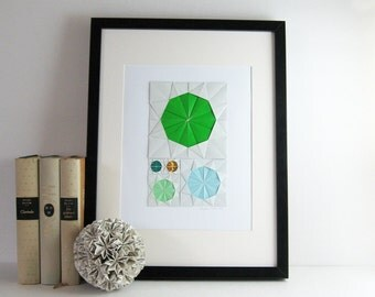 Origami Sketch No6 Green - Paper Collage Geometric Circles - Modern Home Decor - Paper Anniversary - Paper Origami Art - Minimalist Art