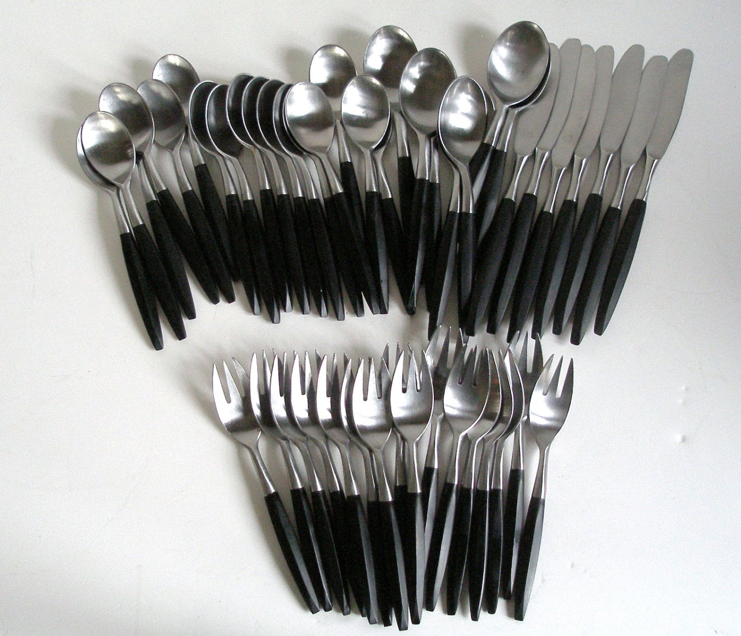 47 Pcs Viking Flatware Stainless And Black Mid Century Forged