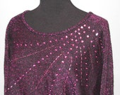 80's METALLIC Sequin CRISTINA'S Sweater // Vintage PINK Knit Size M Sexy 70's Purple Back V Batwing