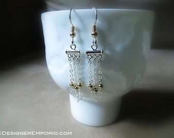 Pure 14K Gold with Sterling Silver Chainmaille Chandelier earrings, dangle earrings, classic jewelry, hand made