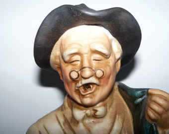 Mid Century 1969 Collectible Lionstone Whisky Porcelain Old Drunk Doctor Sculpture Decanter