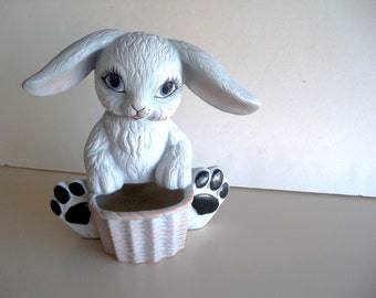 Vintage 1993 Grey Hand Painted Chalk Ware Ceramic Grey Easter Bunny Rabbit Holiday Decor Gift