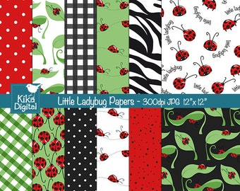 Little Ladybug Digital Papers - Scrapbooking, card design, invitations, background, paper crafts, web design - INSTANT DOWNLOAD