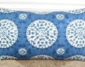 Blue and white suzani style print on cotton lumbar pillow cover - 12 x 20