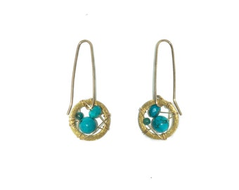 Long Wire Small Turquoise Dream Catcher Earrings in 18K Gold Overlay