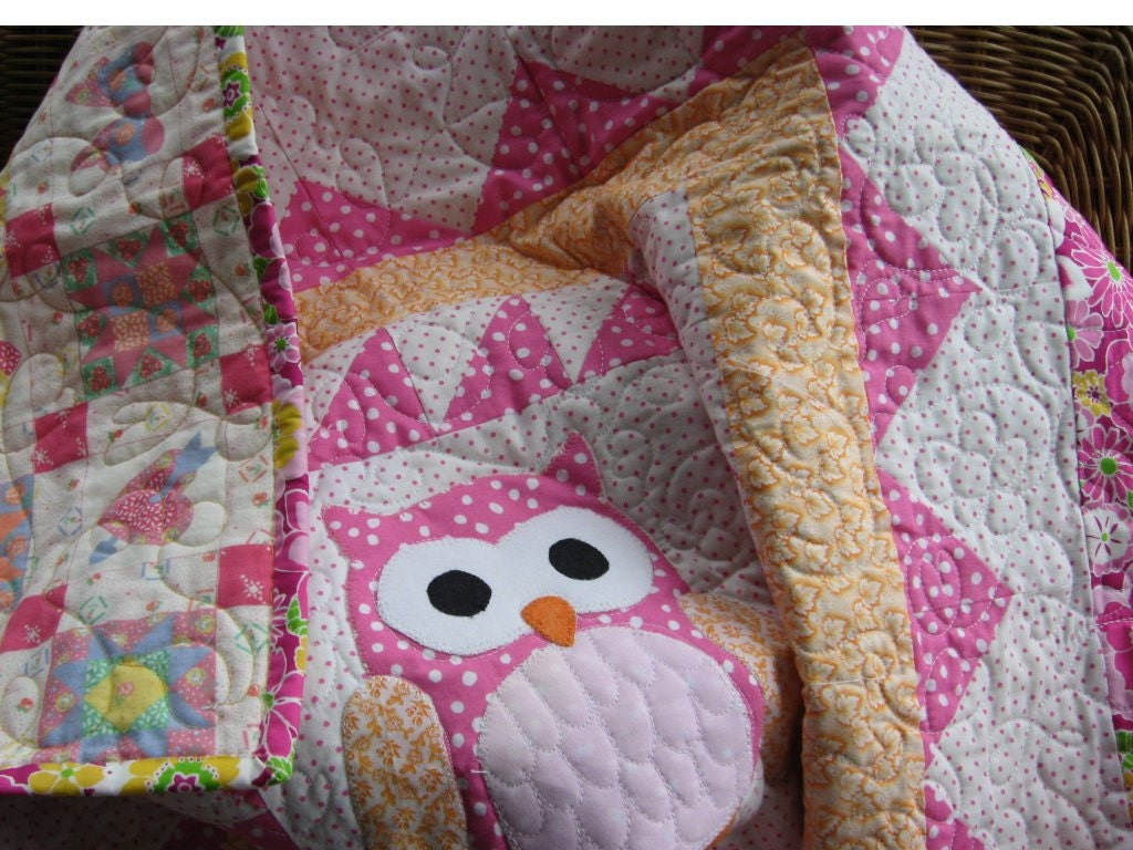 Handmade Baby Quilt Pink And White Girls Quilt Owl Nursery