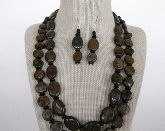 Bronzite Brown Black Double Strand Earrings Natural Stone Ovals Discs  gift  fashion under 55