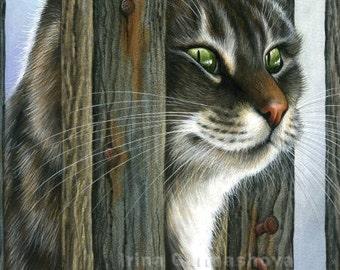 Tabby Cat Print Curious Neighbour by Irina Garmashova