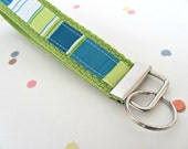 Keychain Key Fob Wristlet Woman's Accessories Teal Blue, Aqua, Lime Green Stripe on Lime Green Cotton Webbing