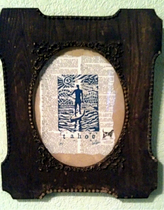 Rustic brown vintage framed Lake Tahoe Paddler printed in blue