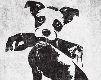 Good dog,black and white,funny,gothic,zombies,Horror,scary,blood,wall decor,dog print,art