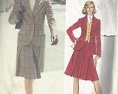 Vogue 2734 Vintage Sewing Pattern by Bill Blass Suit, Jacket, Skirt, Vest & Ascot Pattern Size 14
