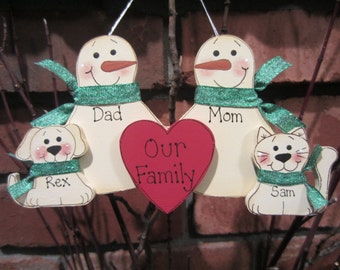 4 Family Members:  Personalized Snowman & Pet Ornament