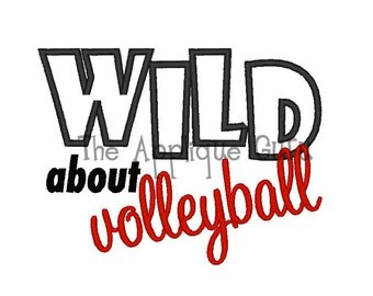 Wild About Volleyball Applique -- Machine Embroidery Design
